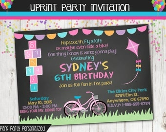Party in the Park Chalkboard Invitation