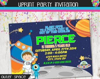 Boy Astronaut Invitation - Outer Space Invitation - Space Party - Astronaut Party