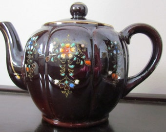 Vintage Japanese Brown Teapot Hand Painted Redware Ceramic Collectible