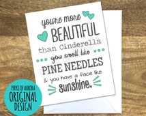 """Bridal Party """"You're More Beautiful than Cinderella"""" Bridesmaids movie inspired card"""