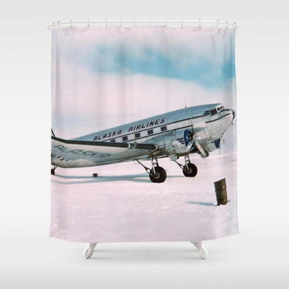 Items Similar To Vintage Airplane Shower Curtain Wanderlust Travel Aviation  Photograph Alaska Airlines Air Plane Classic Pilot Flight Hipster Photo  Bathroom ...