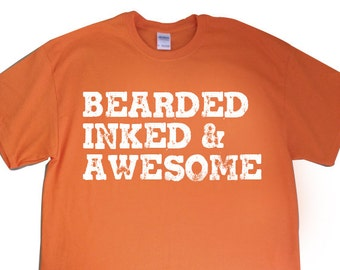 """New """"Bearded Inked & Awesome"""" Mens T-shirt for Beard Grower, Tattoo Lover, Inked Friend, Birthday, Brother, Husband, Co-Worker Gift S-2xl"""