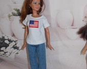 Handmade Clothes that fit Barbie.  Jeans  & Cotton Shirt, American Flag Clothing Set by JanCo. 4th of July, Independance Day