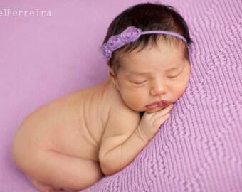 Lavender Shabby Rosette, Lavender Rosette Headband, Lavender Flower, Lavender Headband, Photography Prop, Headband, Newborn Headband