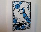 Blue Jay Linocut Print