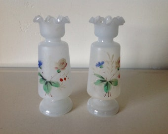 Victorian Bristol Glass Vases, Clam-broth Vases, Romantic Decor,Edwardian Style,Shabby Chic