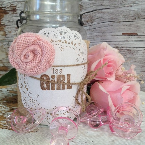 Diy baby shower decorations for 5 jars it 39 s by for Baby girl shower decoration