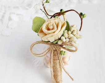 Rustic Boutonniere, Dried Rose Lapel Pin, Natural Buttonhole, Groom Boutonniere, Woodland Boutonniere, Country Weddings, Best Men, Groomsmen