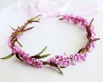 Pink Floral Crown, Boho Head Wreath, Girls Crown, Toddler Crown, Kids Crown, Woodland Halo, Rustic Crown, Flower Girl Halo, Floral Crown