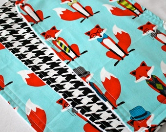 Fox and Houndstooth in Aqua Burp Cloths - Burp Pads, Cotton and Chenille - Shower Gift, Argyle, Bowtie, Orange, Black, Mustache