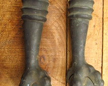 Antique Cast Iron Claw and Ball Table or Piano Stool Legs - Antique Architectural Claw Foot