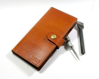 Leather iPhone Wallet- Leather iPhone Case- Handmade iPhone  case