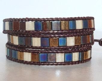 Boho chic tila bead 3 wrap bracelet/ Blue/gold/cream/copper leather Bohemian triple wrap ladder yoga bracelet