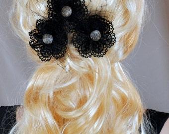 Set of 3 hair pins, Black hair pins, gothic clip, victorian accessories, bridal hair pins, black lace flower, wedding pins, black wedding