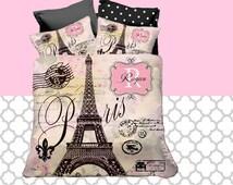 beliebte artikel f r paris theme bedding auf etsy. Black Bedroom Furniture Sets. Home Design Ideas