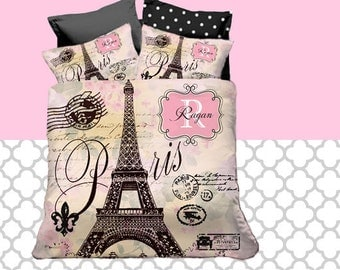eiffel tower duvet etsy. Black Bedroom Furniture Sets. Home Design Ideas