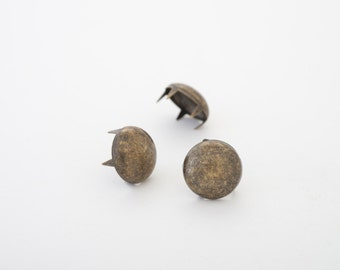 Antique brass, 12mm multi-pronged garment dome studs - bag of 100