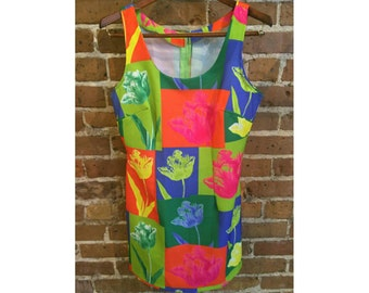 Vintage Handmade Warhol inspired inverted tulip screen print dress size medium