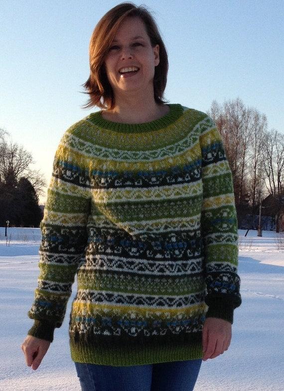 Fair Isle sweater Norwegian sweater Women's sweater Green