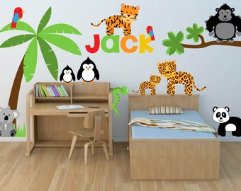 Wall Decal-Animal Decal- Zoo Wall Decal - Jungle Decals - Tree Decals - Name Decal- Baby Boys Girls Bedroom Nursery