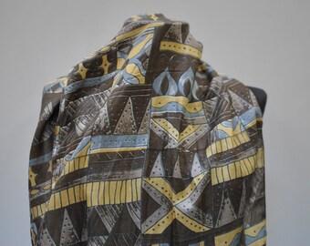Vintage PRINTED silk scarf , long silk scarf...(857)