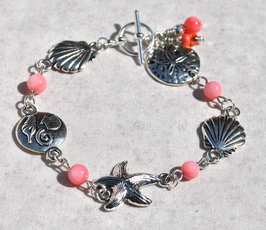 Seashell And Coral Charm Bracelet With Seashell Charms