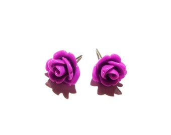 Purple Rose Post Earrings
