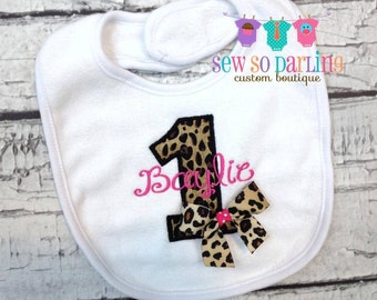 1st Birthday Bib - Birthday Girl Leopard Bib - First Birthday Monogrammed bib