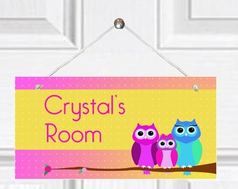 Personalized Child's Door Sign - Look Whooos Here Theme/Owl Theme