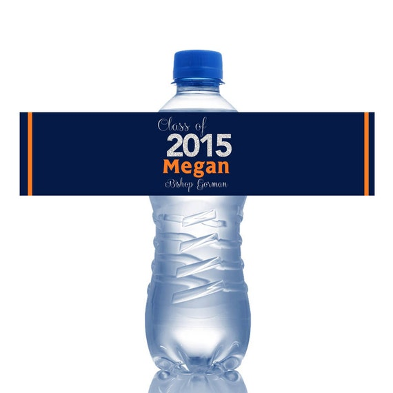 Dazzling Grad Water Bottle Labels Birthday Class of 2015 - photo#30