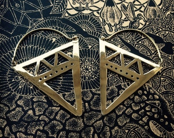 Handmade Brass Triangle Earrings by Quantum