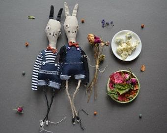 Bunny art doll - Easter rabbit boy - Small toy - Animal - Gift for boy girl.