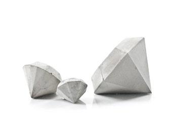 Set of Three Concrete Diamond Paperweights, cement diamond decor, concrete diamond gift set, handcrafted diamond beton sculptures, gift set