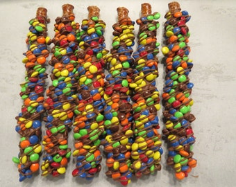 1 Dozen Fresh Made Chocolate Covered Pretzels with M & M's or Reese's Pieces Hand Dipped Made to Order Party Favor Birthday Snack FUN!
