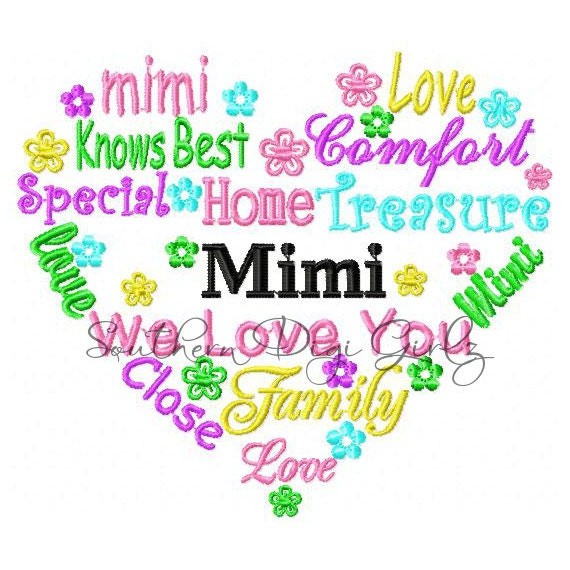 Items similar to mimi heart word art embroidery design
