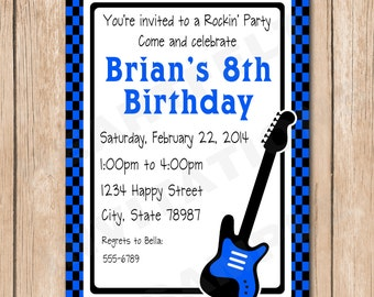 Guitar Birthday Invitation - 1.00 each printed or 10.00 DIY file