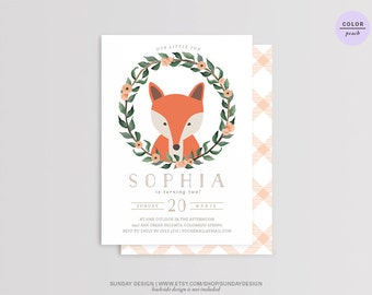 Fox Birthday Party Invitation Card - DIY Printable Party  for Children