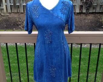 90's Blue Floral Denim Dress Large / Medium 8