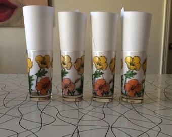 Floral Highball Glasses - Set of 4