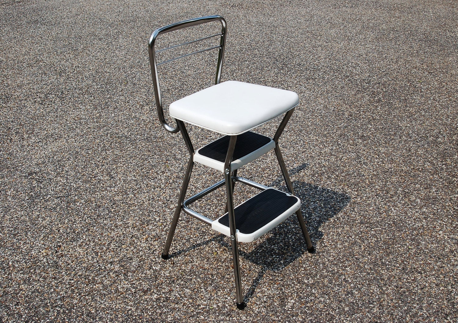 Cosco Chrome Step Stool Chair Combination Mid Century Chrome