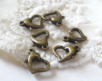6- Heart Lobster Clasp Bronze Bracelet Ending Piece Necklace Closure Heart Shaped Jewelry Supply Inv0110