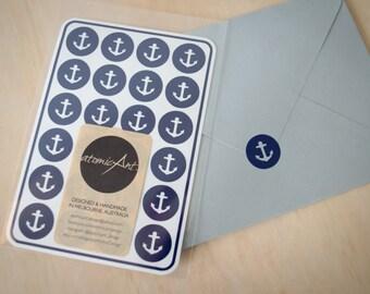 24 Anchor Stickers in Sky, Navy & Grey - Handmade Envelope Seals - Wedding invitations - Nautical Theme - Hershey Kiss - Bridal Shower
