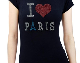 I LOVE PARIS Eiffel Tower Rhinestone/stud Women's T shirt Round Neck