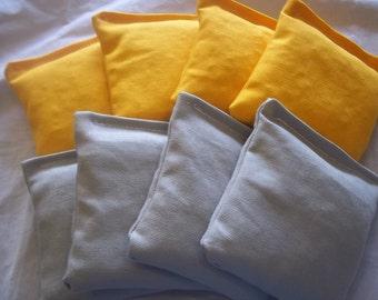 8 ACA Regulation Cornhole Bags - 4 Grey and 4 Yellow/Gold