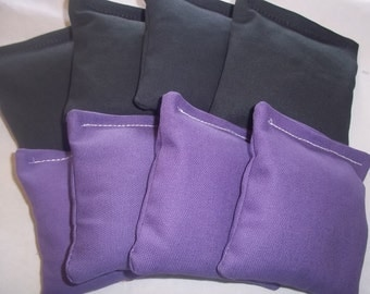 8 ACA Regulation Cornhole Bags - 4 Purple and 4 Black