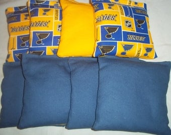 8 ACA Regulation Cornhole Bags - 4 NHL St. Louis Blues & 4 Solid Blue