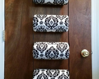Headband holder/organizer black and white damask Handmade 5-tiers