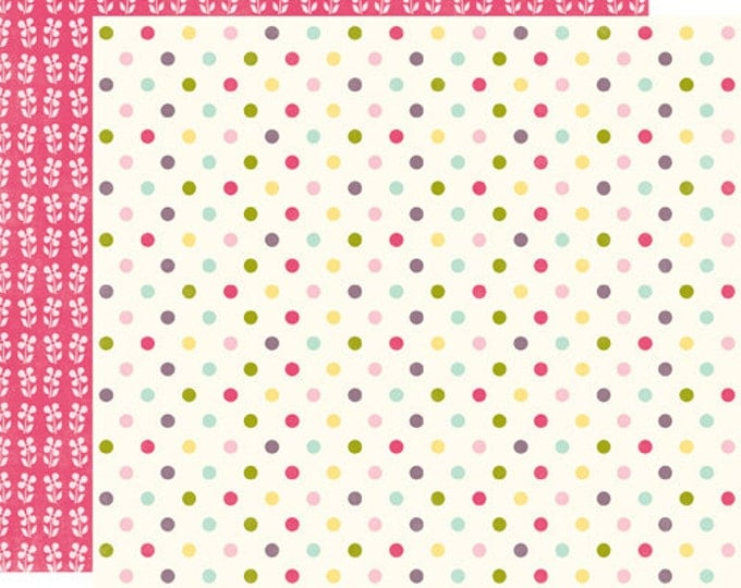 2 Sheets of Echo Park Paper SPRINGTIME 12x12 Scrapbook Paper - Colored Dots