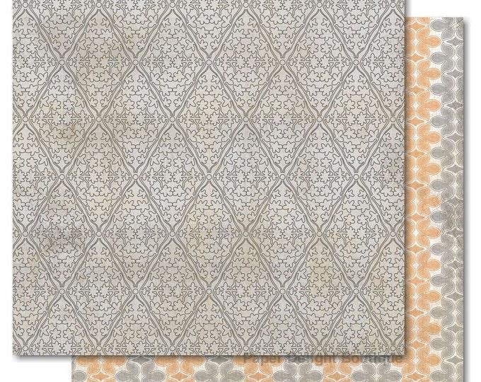 "2 Sheets of My Mind's Eye INDIE CHIC Saffron ""Dreams"" 12x12 Scrapbook Paper - Silk"