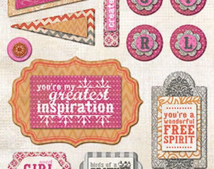 """My Mind's Eye INDIE CHIC Saffron """"Create"""" Layered Stickers"""